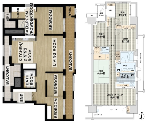Left: Korean Apartment Plan Right: Japanese Apartment Plan