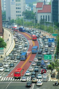 Bus lanes in downtown Seoul cut through heavy traffic and reduce pollution