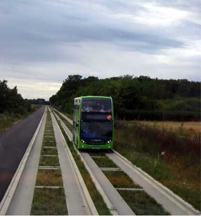 Example of Guided Technology: Stagecoach in Huntingdonshire bus, Courtesy of Bob Castle https://commons.wikimedia.org/wiki/File:Guided_bus_Oakington_to_Longstanton.jpg